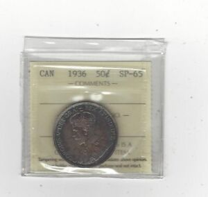 Click now to see the BUY IT NOW Price!   1936   ICCS GRADED CANADIAN 50 CENT   SP 65