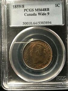 Click now to see the BUY IT NOW Price!   1859 WIDE 9/8  PCGS GRADED CANADIAN LARGE ONE CENT   MS 64
