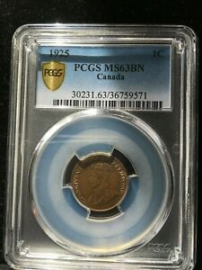 Click now to see the BUY IT NOW Price!   1925   PCGS GRADED CANADIAN  SMALL ONE  CENT   MS 63