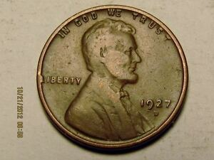 1927 D LINCOLN WHEAT CENT    SOLID ALBUM HOLE FILLER COIN