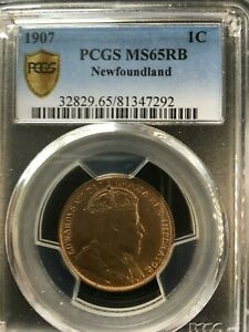 Click now to see the BUY IT NOW Price!   1907   PCGS GRADED NEWFOUNDLAND  1 ONE CENT   MS 65