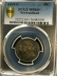 Click now to see the BUY IT NOW Price!   1919C   PCGS GRADED NEWFOUNDLAND  25 FIVE CENT   MS 64
