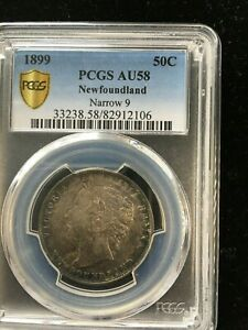 Click now to see the BUY IT NOW Price!   1899 NARROW 9   PCGS GRADED NEWFOUNDLAND  50 FIFTY CENT   AU 58