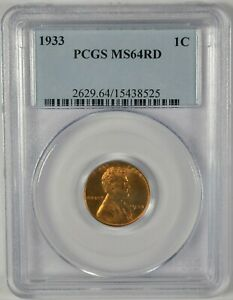 1933 1C PCGS MS 64 RD LINCOLN WHEAT CENT  B580.18