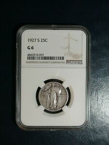 1927 S STANDING LIBERTY QUARTER NGC GOOD 6 SILVER 25C COIN PRICED TO SELL