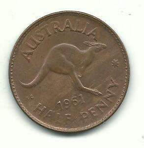 HIGH GRADE UNC BROWN/LITTLE RED 1961 P AUSTRALIA AUSTRALIAN HALF PENNY DEC936