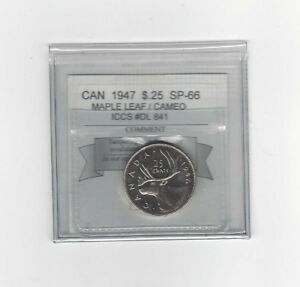 Click now to see the BUY IT NOW Price!   1947 ML   COIN MART GRADED CANADIAN 25 CENT   SP 66 CAMEO  ICCS DL 841