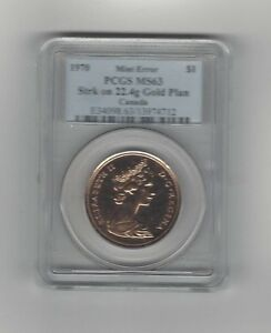 Click now to see the BUY IT NOW Price!   1970   PCGS GRADED CANADIAN MINT ERROR GOLD DOLLAR   MS 63  LY