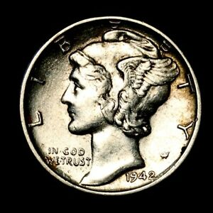 1942 P    ABOUT UNCIRCULATED AU    SILVER MERCURY DIME OLD US  COIN  310