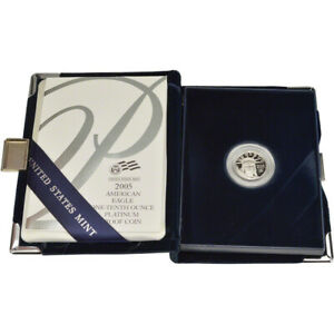 2005 W AMERICAN PLATINUM EAGLE PROOF 1/10 OZ $10 IN OGP