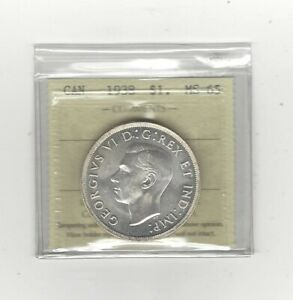 Click now to see the BUY IT NOW Price!   1938   ICCS GRADED CANADIAN SILVER DOLLAR   MS 65