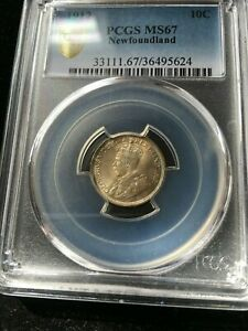 Click now to see the BUY IT NOW Price! 1912  NEWFOUNDLAND 10 CENT PCGS GRADED   MS 67  STUNNING