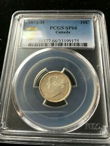 Click now to see the BUY IT NOW Price!   1872H   PCGS  GRADED CANADIAN  10  CENT   SP 66