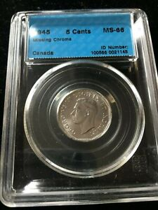 Click now to see the BUY IT NOW Price! 1945  MISSING CHROME   CCCS GRADED CANADIAN FIVE CENT   MS 66