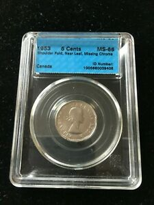 Click now to see the BUY IT NOW Price! 1953 SF/NL  MISSING CHROME CCCS GRADED MS 66 CANADIAN FIVE CENT