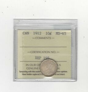 Click now to see the BUY IT NOW Price! 1912   ICCS  GRADED CANADIAN  10  CENT   MS 65