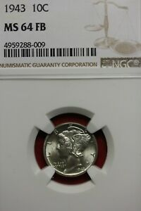 1943 P MS 64 FB MERCURY DIME NGC CERTIFIED GRADED SLAB COMBINED SHIPPING OCE 382