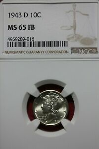 1943 D FB MS 65 MERCURY DIME NGC CERTIFIED GRADED SLAB COMBINED SHIPPING OCE1188