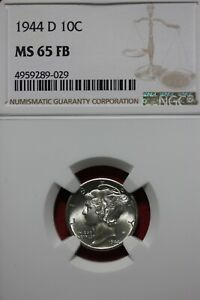 1944 D FB MS 65 MERCURY DIME NGC CERTIFIED GRADED SLAB COMBINED SHIPPING OCE1122