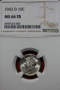 1943 D MS 66 FB MERCURY DIME NGC CERTIFIED GRADED SLAB COMBINED SHIPPING OCE 605