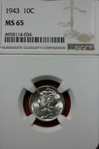 1943 P MS 65 MERCURY DIME NGC CERTIFIED GRADED SLAB COMBINED SHIPPING OCE 109