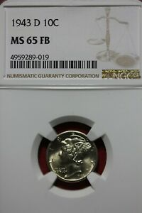 1943 D FB MS 65 MERCURY DIME NGC CERTIFIED GRADED SLAB COMBINED SHIPPING OCE1158