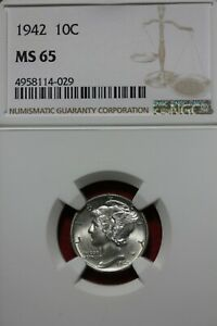 1942 P MS 65 MERCURY DIME NGC CERTIFIED GRADED SLAB COMBINED SHIPPING OCE 677