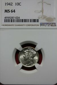 1942 P MS 64 MERCURY DIME NGC CERTIFIED GRADED SLAB COMBINED SHIPPING OCE1081