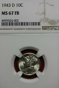 1943 D MS 67 FB MERCURY DIME NGC CERTIFIED GRADED SLAB COMBINED SHIPPING OCE 418