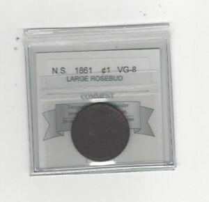 1861  COIN MART GRADED NOVA SCOTIA LARGE BUD ONE CENT   VG 8