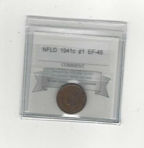 1941C COIN MART GRADED NEWFOUNDLAND SMALL ONE CENT   EF 45
