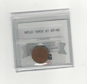 1943C COIN MART GRADED NEWFOUNDLAND SMALL ONE CENT   EF 45