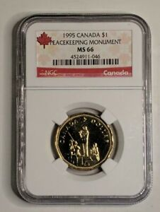 1995 CANADA NGC MS66 PEACEKEEPING MONUMENT LOONIE $1  ONLY 15 EXIST IN MS66