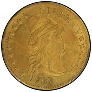 Click now to see the BUY IT NOW Price! 1797 $10 LARGE EAGLE DRAPED BUST EAGLE PCGS AU58   CAC