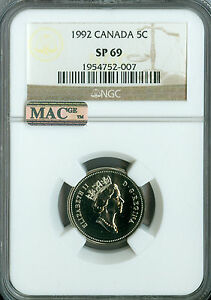 Click now to see the BUY IT NOW Price! 1992 CANADA 5 CENTS NGC MAC SP69 PQ FINEST GRADED SPOTLESS