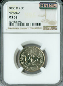 Click now to see the BUY IT NOW Price! 2006 D NEVADA QUARTER NGC MAC MS68 FINEST BUSINESS STRIKE POP 13 SPOTLESS