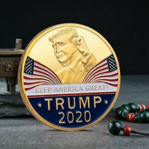 DONALD TRUMP 2020 ELECTION CHALLENGE COIN 24K GOLD PLATED KEEP AMERICA GREAT DW