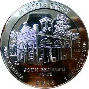 2016 AMERICA THE BEAUTIFUL 5OZ 999 FINE SILVER COIN   ATB   HARPERS FERRY   BYP