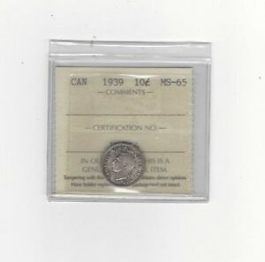 Click now to see the BUY IT NOW Price!   1939   ICCS GRADED CANADIAN  10  CENT   MS 65