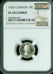 Click now to see the BUY IT NOW Price! 1955 CANADA 10 CENTS NGC MAC PL 64 CAMEO PQ  SPOTLESS
