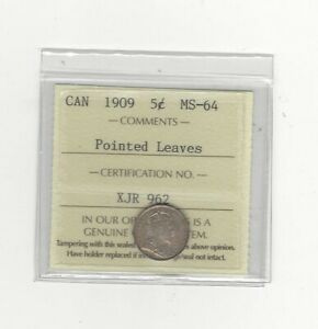 Click now to see the BUY IT NOW Price!   1909 POINTED LEAVES   ICCS GRADED CANADIAN  5 CENT   MS 64