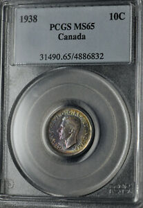 Click now to see the BUY IT NOW Price! 1938 TEN CENTS 10 PCGS MS 65   SUPERB VIOLET & GREEN TONES