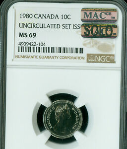 1980 CANADA 10 CENTS NGC MAC MS 69 PQ FINEST GRADE SPOTLESS POP 2