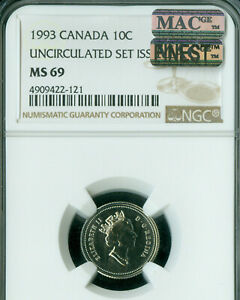 Click now to see the BUY IT NOW Price! 1993 CANADA 10 CENTS NGC MS 69 PQ MAC FINEST GRADE MAC SPOTLESS