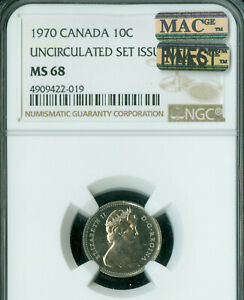 1970 CANADA 10 CENTS NGC MAC MS 68 PQ FINEST GRADE SPOTLESS