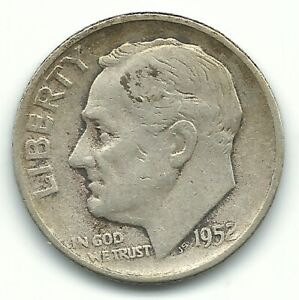 1952 S Roosevelt Dime Photos, Mintage, Specifications, Errors