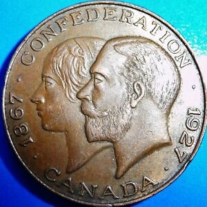 ONE ONLY CANADA 60 YEARS CONFEDERATION 1867 1927 COMMEMORATIVE MEDAL HIGH GRADE