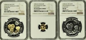 Click now to see the BUY IT NOW Price! 2014 SOMALIA AFRICAN WILDLIFE SET OF 3 GOLD & SILVER NGC MS69 MS68 & PF69