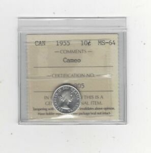 1955  ICCS GRADED CANADIAN  10  CENT   MS 64 CAMEO
