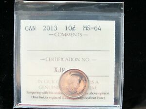 2013   CANADIAN TEN CENT   ICCS GRADED MS 64